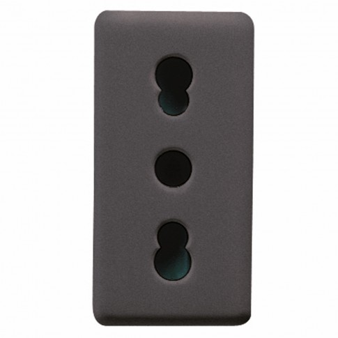 Priza simpla Gewiss System GW21203-1BL, incastrata, modulara - 1, contact de protectie, neagra