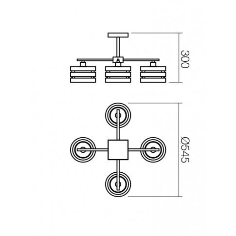 Plafoniera tip lustra Kim 01-627, 4 x E14, crom + alb + wenge