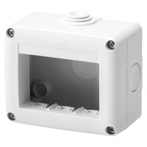 Cadru aparent Gewiss GW27003, 3 module, IP40, gri, pentru priza / intrerupator