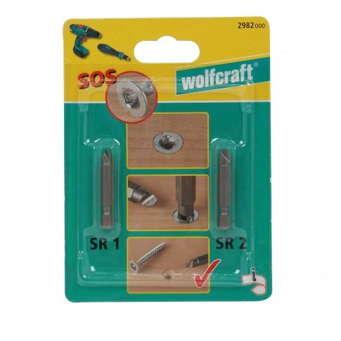 Biti pentru insurubare, pentru cap deteriorat, Wolfcraft SOS, SR 1 - SR 2, set 2 bucati