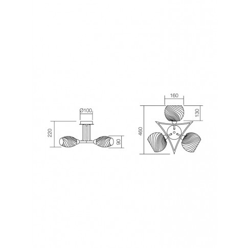 Plafoniera tip lustra Helen 01-655, 3 x E14, wenge + alb