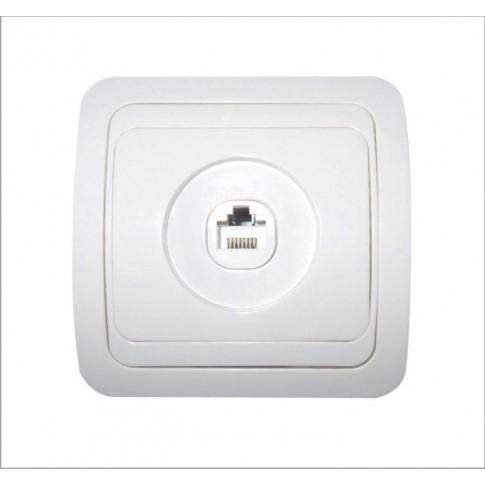 Priza date Eco Premium MF0012-06053, RJ45 cat. 5E, incastrata, rama inclusa, alba