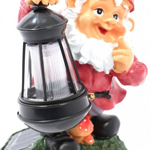 Lampa solara LED Hoff, pitic cu felinar, rasina, H 25 cm