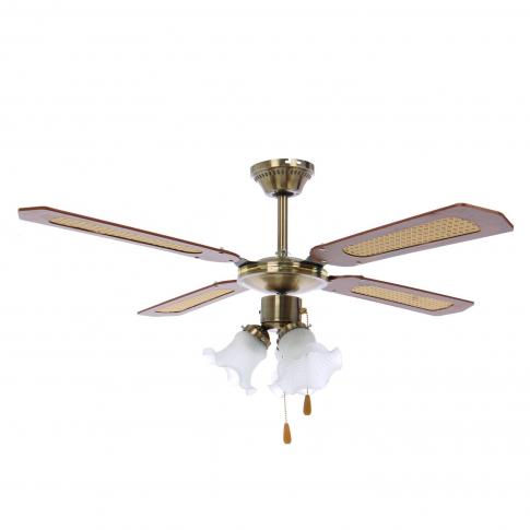 Lustra cu ventilator, 3 viteze, Hoff, 3 x E27, maro + alb