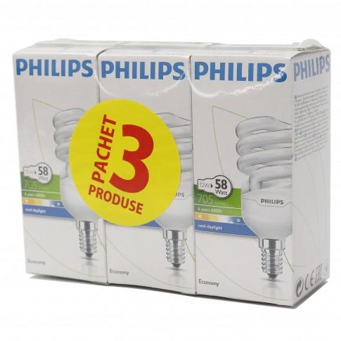 Bec economic Philips Tornado 865 spiralat E14 12W 741lm lumina rece, 3 buc
