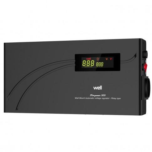 Stabilizator de tensiune cu releu, slim Well AVR-REL-SLIMPOWER500-WL, 500VA / 300W