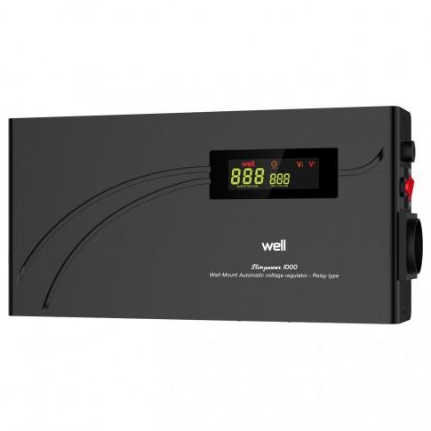 Stabilizator de tensiune cu releu, slim Well AVR-REL-SLIMPOWER1000-WLL, 1000VA / 600W