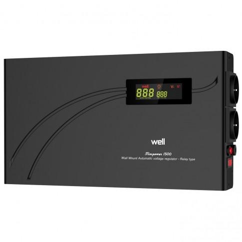 Stabilizator de tensiune cu releu, slim Well AVR-REL-SLIMPOWER1500-WL, 1500VA / 900W