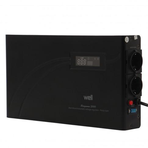 Stabilizator de tensiune cu releu, slim Well AVR-REL-SLIMPOWER2000-WL, 2000VA / 1200W
