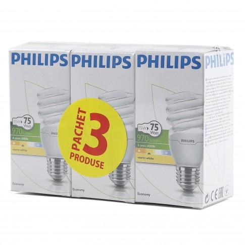 Bec economic Philips Tornado spiralat E27 15W 970lm lumina calda 2700 K, 3 buc
