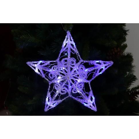 Stea 3D 40 LED-uri albe + albastre, Hoff, acril, 40 x 40 cm