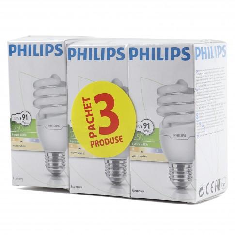 Bec economic Philips Tornado spiralat E27 20W 1250lm lumina calda 2700 K, 3 buc