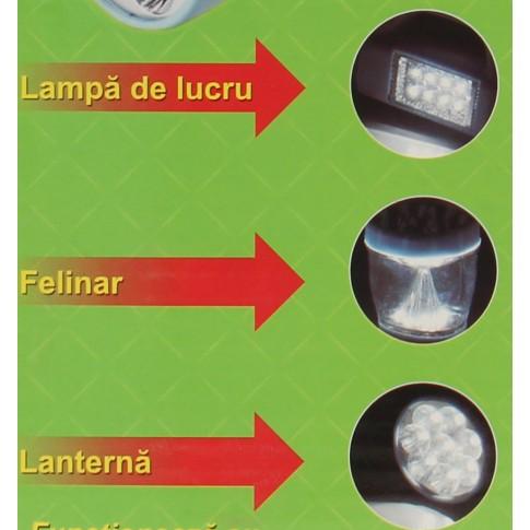 Lanterna LED Hoff, alimentare baterii (3 x AA), cu felinar, ABS, maner