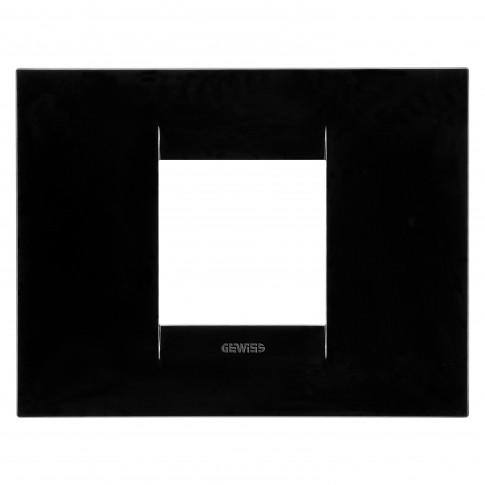 Rama Gewiss Chorus Geo GW16402TN, 2 module, neagra, pentru priza / intrerupator