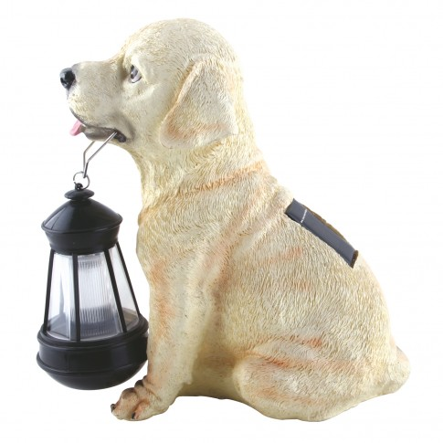 Lampa solara LED Hoff, caine cu felinar, rasina, plastic, H 25 cm