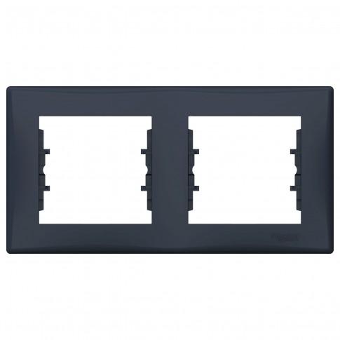 Rama Schneider Electric Sedna SDN5800370, 2 posturi, grafit, pentru priza / intrerupator