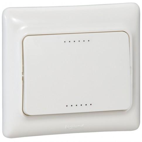 Intrerupator simplu cu indicator luminos Legrand Kaptika 782101, incastrat, rama inclusa, alb