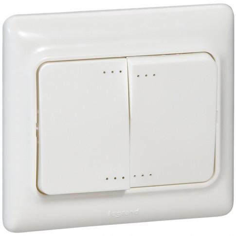 Intrerupator dublu cu indicator luminos Legrand Kaptika 782103, incastrat, rama inclusa, alb
