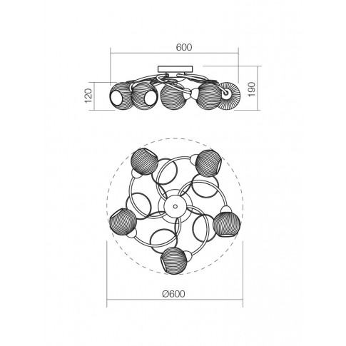 Plafoniera tip lustra Anne 02-795, 5 x E14, alb + negru