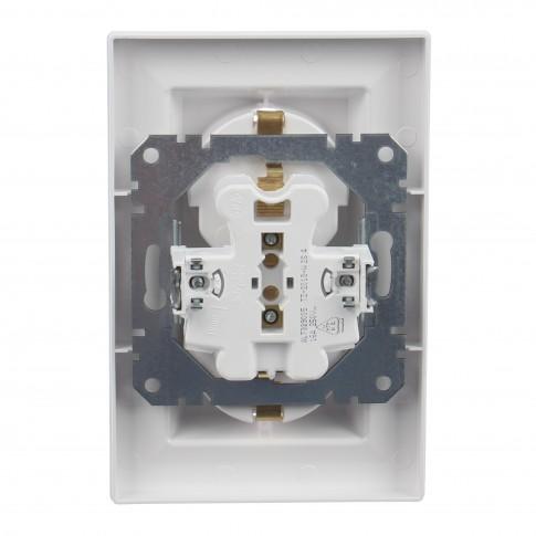 Priza dubla Schneider Electric Asfora EPH9900121, incastrata, rama inclusa, contact de protectie, alba