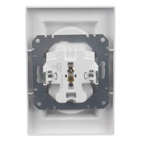 Priza dubla Schneider Electric Asfora EPH9700121, incastrata, rama inclusa, alba