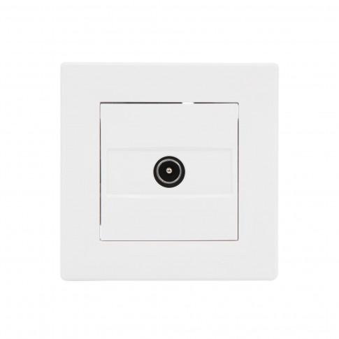 Priza TV de capat Asfora EPH3200121, rama inclusa, alba