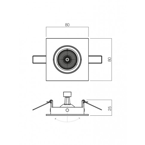 Spot incastrat MT 123 70336, GU5.3, orientabil, negru / crom