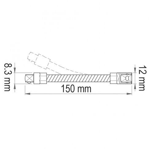 Prelungitor flexibil,  Unior 612868, 1/4 inch, 150 mm