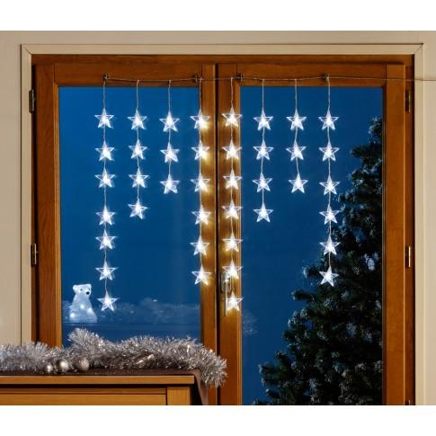 Instalatie turturi stelute Craciun, Hoff, 40 LED-uri albe, 70 x 70 cm, controler, interior / exterior
