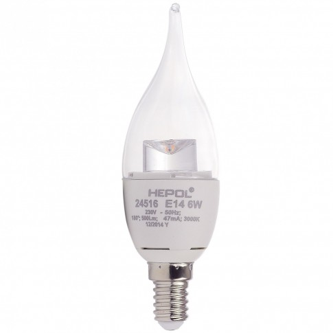 Bec LED Hepol lumanare fantezie E14 6W 500lm lumina calda 3000 K
