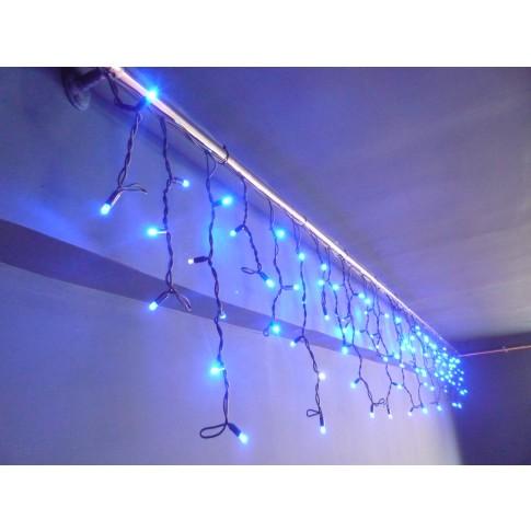 Instalatie turturi Craciun, Hoff Net, 108 LED-uri albastre + 12 LED-uri flash, 4.5 x 0.5 m, interior / exterior