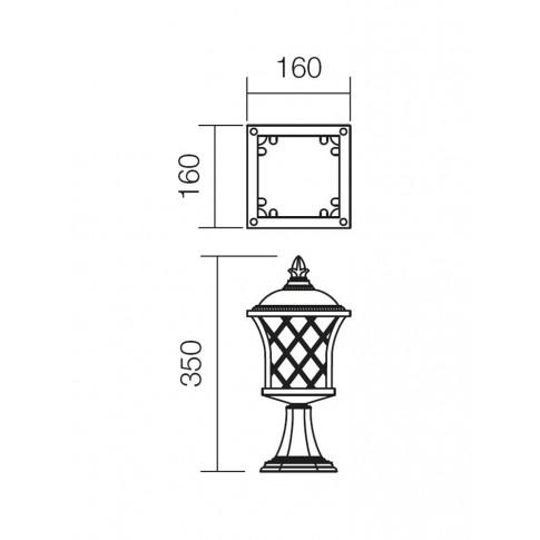 Stalp de iluminat ornamental Bremen 9953, 1 x E27, H 35 cm, finisaj maro cu patina aurie