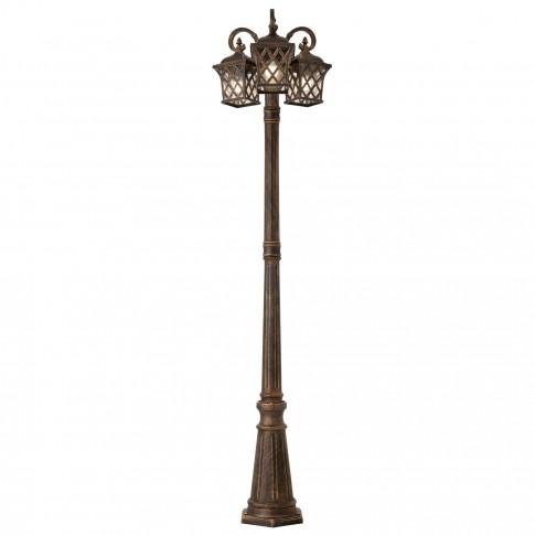 Stalp de iluminat ornamental Bremen 9954, 3 x E27, H 220 cm, finisaj maro cu patina aurie