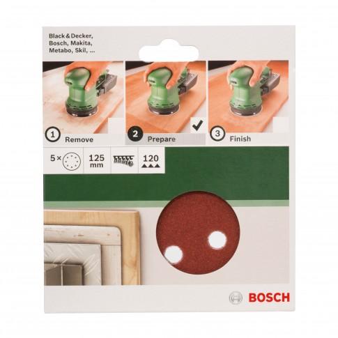 Disc abraziv cu autofixare, pentru slefuire lemn / metale, Bosch 2609256A25, 125 mm, granulatie 120, set 5 bucati