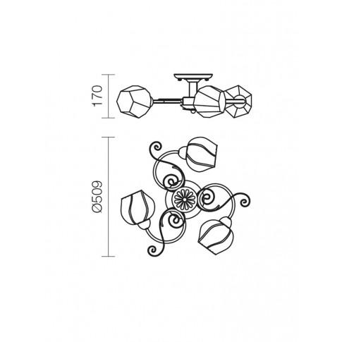 Plafoniera tip lustra Dorothy 02-908, 3 x E14, alama antica + alb