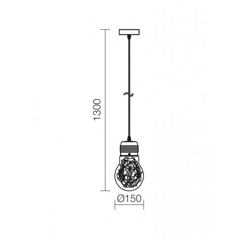 Suspensie Snoot 01-887, 1 x E27, D 150 mm, crom + transparent
