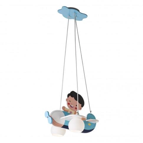 Suspensie pentru copii Happy Plane 04-421, 2 x E14, albastra
