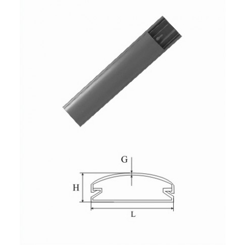 Canal cablu semirotund 69 x 18 mm, 2 m, gri, PVC ignifugat