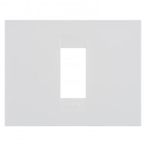 Rama Gewiss Chorus GEO GW16401TB, 1 modul, alba, pentru priza / intrerupator