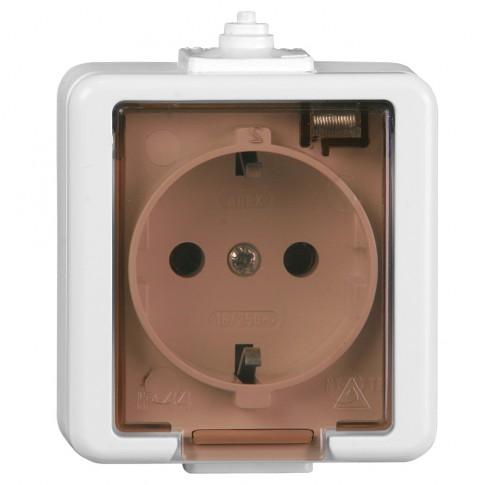 Priza simpla Smart NT-17, aparenta, rama inclusa, cu capac, contact de protectie, alba