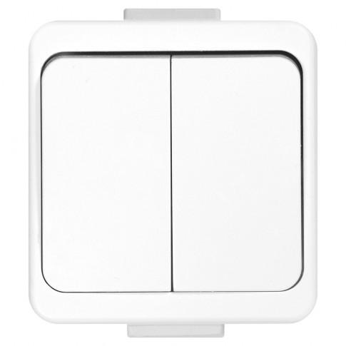 Intrerupator dublu Smart WNT-2S, aplicat, rama inclusa, alb