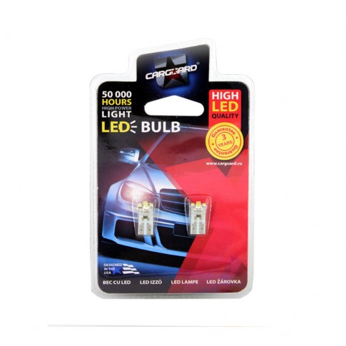 Bec LED SMD de pozitie Carguard CLD011, T10, 0.6 W, 12 V, set 2 bucati