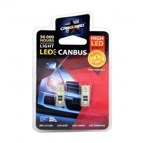 Bec LED SMD de pozitie Canbus Carguard CAN102, T10, 3 W, 12V, set 2 bucati