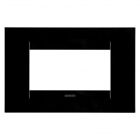 Rama Gewiss Chorus Geo GW16404TN, 4 module, neagra, pentru priza / intrerupator