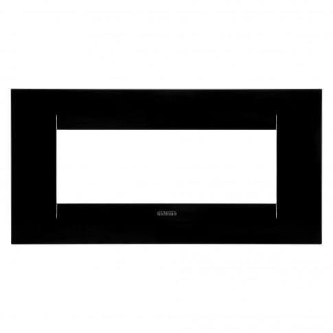 Rama Gewiss Chorus Geo GW16406TN, 6 module, neagra, pentru priza / intrerupator