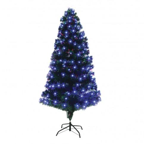 Brad artificial fibra optica de Craciun, Hoff, cu 300 LED-uri albastre, 250 cm