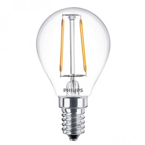 Bec LED filament Philips mini P45 E14 2W 250lm lumina calda 2700 K