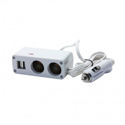 Adaptor bricheta auto VGT, 2 cai de iesire + prelungitor, 2 x USB 5 V, 12 V