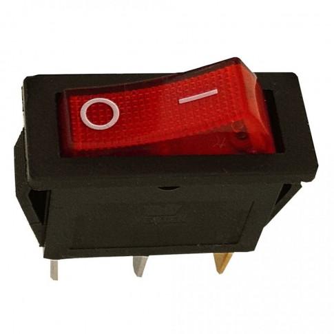 Intrerupator pe fir, simplu, cu indicator luminos, Adeleq 02-545, incastrat, rosu cu negru