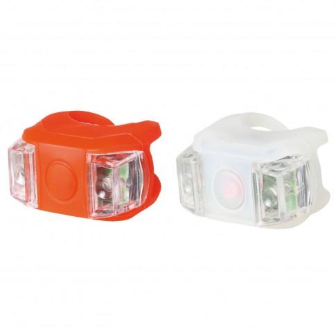 Lampa LED silicon pentru bicicleta Home BV 11 + baterie CR 2032, 0.2W x 2, set 2 bucati (alb + rosu)